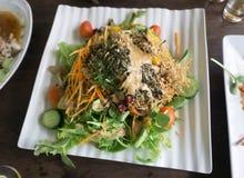 Salada vegetal misturada com tomates, cebolas e queijo de feta na Fotos de Stock