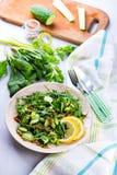 Salada verde com o sau das cebolas, do aipo, do ruccola, dos espinafres e da mostarda Fotos de Stock Royalty Free