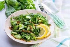 Salada verde com o sau das cebolas, do aipo, do ruccola, dos espinafres e da mostarda Imagem de Stock Royalty Free
