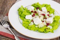 Salada verde com queijo e romã de cabra em um fundo de Fotografia de Stock