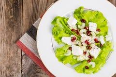 Salada verde com queijo e romã de cabra em um fundo de Fotos de Stock