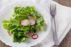 Salada verde com rabanete e azeite na placa branca Fotografia de Stock Royalty Free