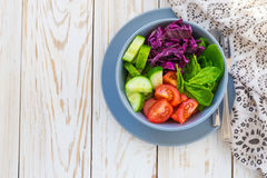 Salada verde com tomate, couve vermelha, pepino e espinafres Imagem de Stock Royalty Free