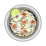 Salada verde da papaia com peixes e os caranguejos salgados Imagem de Stock