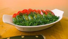 Salada verde em uma bacia Imagem de Stock Royalty Free