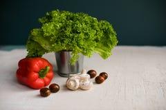 Salada verde fresca em uma cubeta pequena, tomates frescos, cogumelos e pimenta vermelha na tabela rústica branca imagem de stock