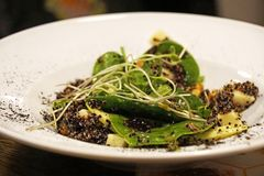 Salada verde fresca, rúcula e salada misturada dos espinafres em um pl branco imagens de stock