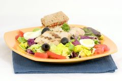 Salada verde misturada com galinha foto de stock royalty free