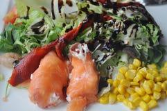 Salada vestida com alface e salmões Imagem de Stock Royalty Free