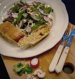 Saladas e pão Imagens de Stock