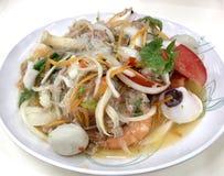 Salade épicée de fruits de mer, Thaifood photo stock