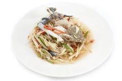 Salade épicée de papaye avec le crabe bleu, poo mA de ventre de som Image stock