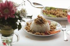 Salade épicée de poisson-chat avec du riz Image stock