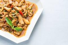 Salade épicée de porc de cuisine thaïlandaise, Moo Nam Tok Image libre de droits