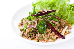 Salade épicée thaïlandaise avec haché et le porc, nourriture thaïlandaise Photographie stock