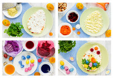 Salade étape-par-étape de casse-croûte de Pâques de recette image libre de droits