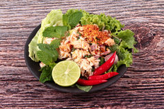 Salade aigre épicée de crabe avec le légume, laboratoire Poo d'appel Photo stock