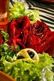 Salade avec des écrevisses Photo stock