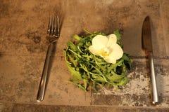 Salade avec des couverts sur le fond en pierre images stock