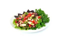 Salade avec des haricots, des tomates et le poulet Image libre de droits