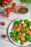 Salade avec des saumons et des légumes Images stock
