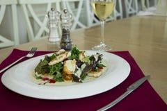 Salade avec du fromage de chèvres Photographie stock libre de droits
