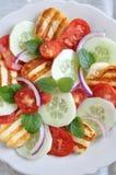 Salade avec du fromage grillé de Halloumi image stock