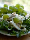 Salade avec du raisin d'oignon de poulet. avec peu de DOF Photographie stock libre de droits