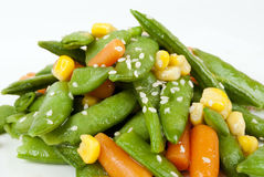Salade avec l'haricot vert Photos stock