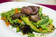 Salade avec l'oeuf, l'avocat et la dinde Photographie stock libre de droits