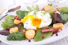 Salade avec l'oeuf poché Photos stock