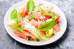 Salade avec la pastèque et le melon Photographie stock
