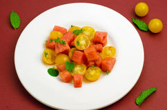 Salade avec la pastèque Photos libres de droits