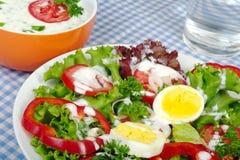 Salade avec la rectification de yaourt image stock