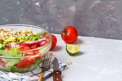 salade avec le tofu, pois chiches, avocat Photographie stock libre de droits