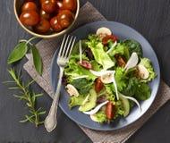 Salade avec les champignons et le kiwi Photographie stock libre de droits