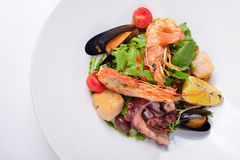 Salade avec les fruits de mer et les tomates, un duo des sauces, d'isolement Images libres de droits