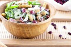 Salade avec les haricots, le lard, le concombre et les croûtons photographie stock libre de droits