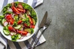 Salade avec les légumes frais de ressort Photos stock