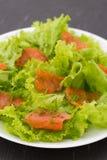 Salade avec les saumons fumés Photographie stock