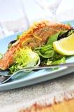 Salade avec les saumons grillés Photo libre de droits