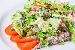 Salade chaude avec du boeuf et des herbes Image stock