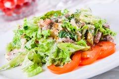Salade chaude avec du boeuf et des herbes Photo stock