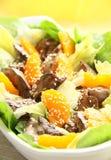 Salade chaude avec du foie de poulet Photographie stock