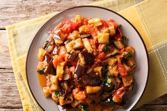 Salade chaude des aubergines, des tomates et de plan rapproché d'ail horizo Photo stock