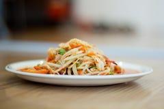 Salade chaude et épicée de papaye Photos stock