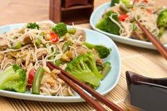 Salade chinoise chaude avec des nouilles de cellophane Photographie stock libre de droits