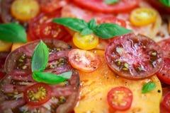 Salade colorée de tomate avec l'héritage, en forme de poire, coeur de boeuf, tigerella, brandywine, cerise, tomates noires en ver images libres de droits