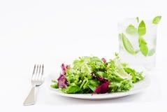 Salade croustillante et boisson glacée photographie stock libre de droits