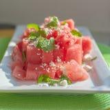 Salade d'été de menthe et de feta de pastèque Images libres de droits